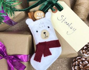 Sew Your Own Pablo the Polar Bear Stocking Felt Sewing Kit, polar bear craft kit, polar bear ornament, felt christmas crafts, felt christmas