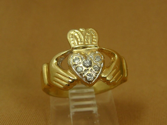 Details about  /Solid 10K White Gold 16mm Gold Irish Claddagh Earrings 5.0 grams
