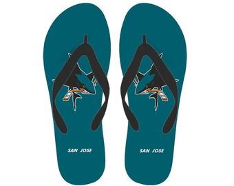 320e7d5ee8c San Jose Sharks Fan Unofficial Flip Flop  Women  men sizes