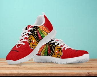 buy online f3e58 7f187 Chicago Blackhawks Fan Unofficial Running Shoes  Women  men  kids sizes