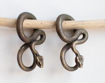 brass cobra ear hangers snake ear weights-stretched lobes jewellery Snake ear weights
