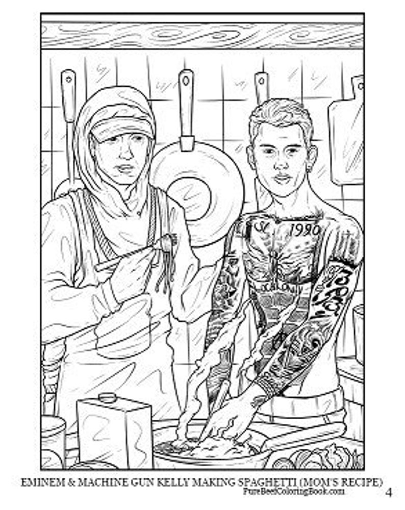 Eminem & Machine Gun Kelly Making Spaghetti (Mom\'s Recipe) - Pure Beef: A  Wholesome Rap Coloring Book. Adult Coloring. MGK