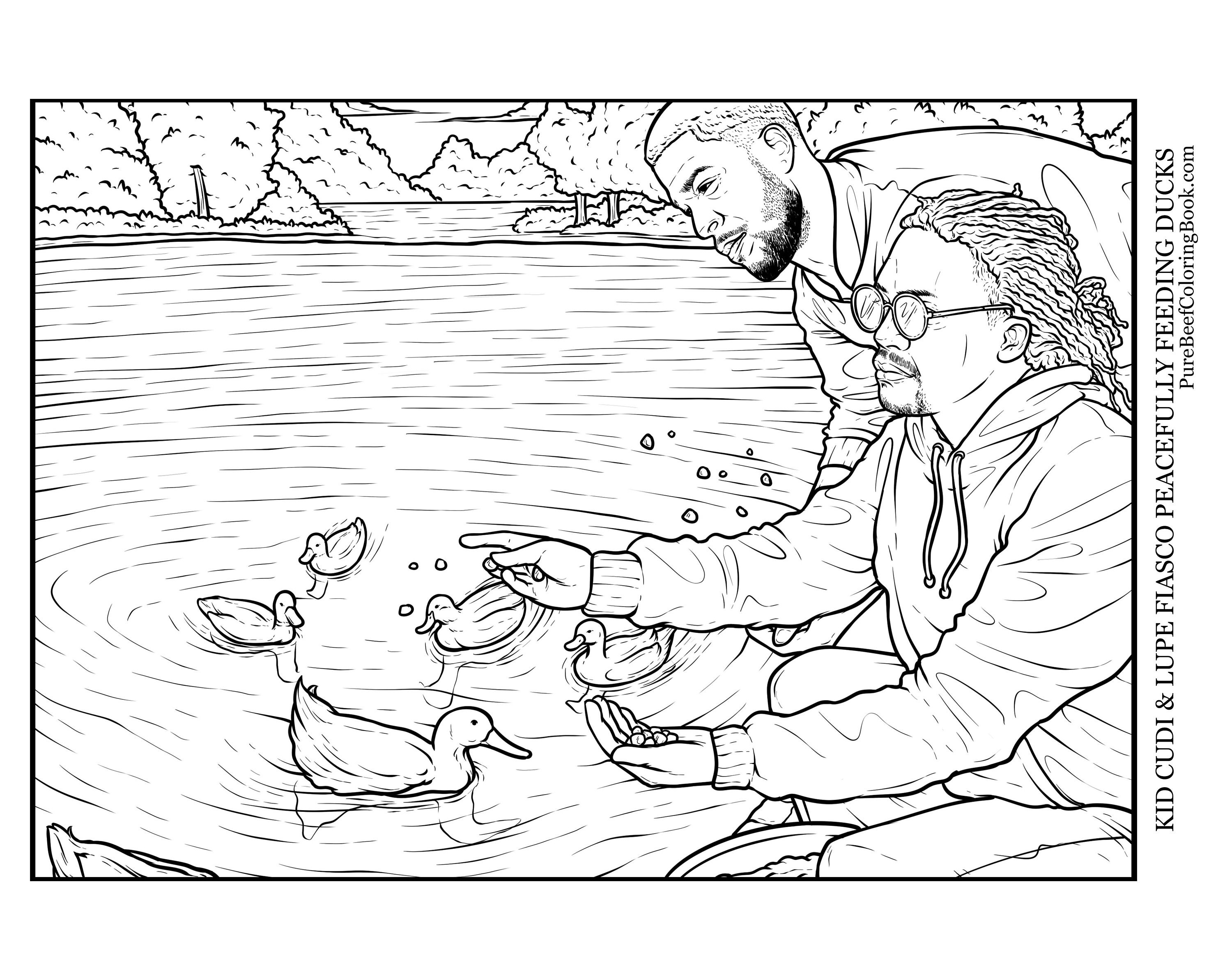 Kid Cudi & Lupe Fiasco Peacefully Feeding Ducks - Pure Beef: A Wholesome  Rap Coloring Book. Adult Coloring.