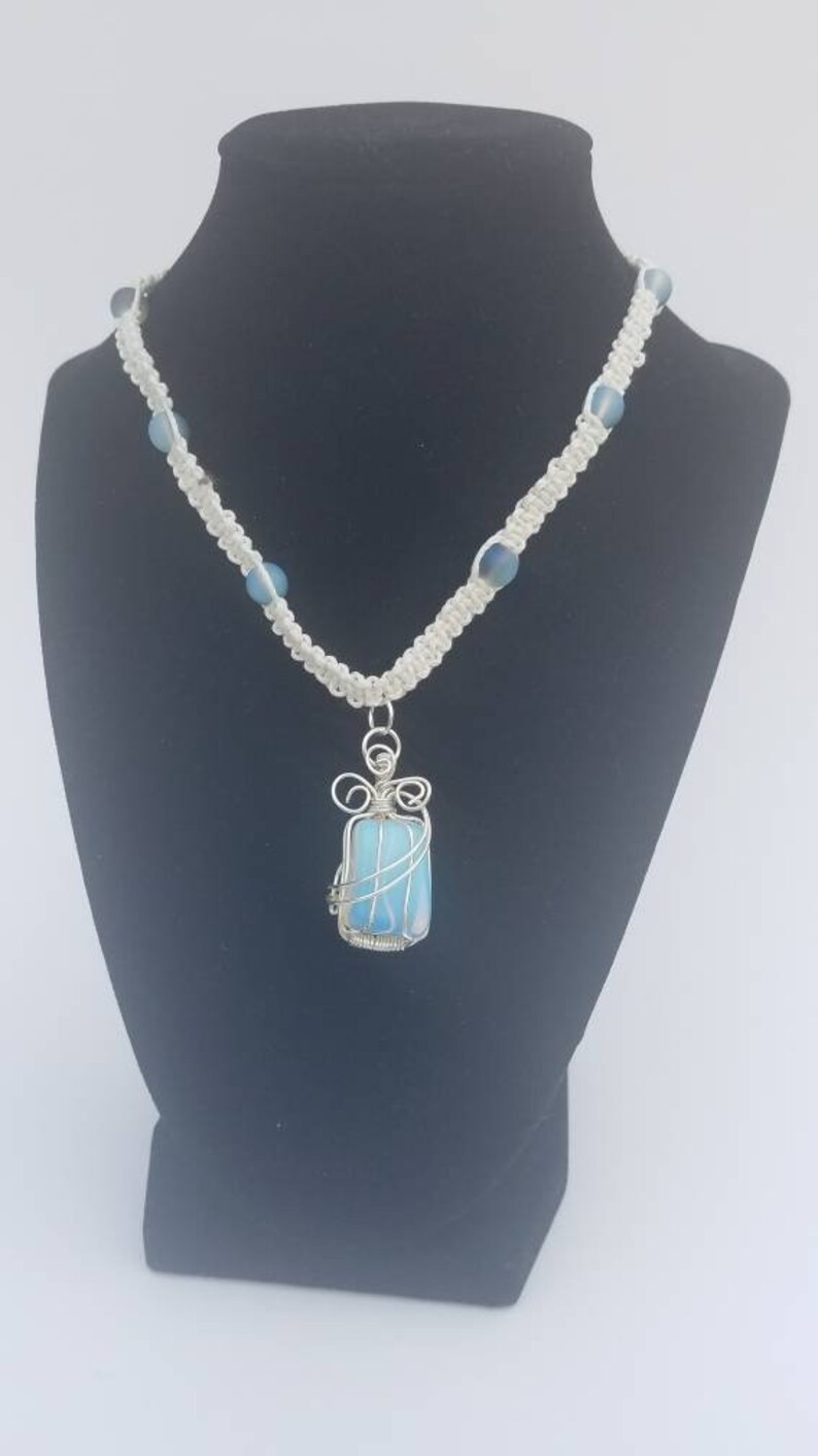 Opalite Necklace and Bracelet white macrame.