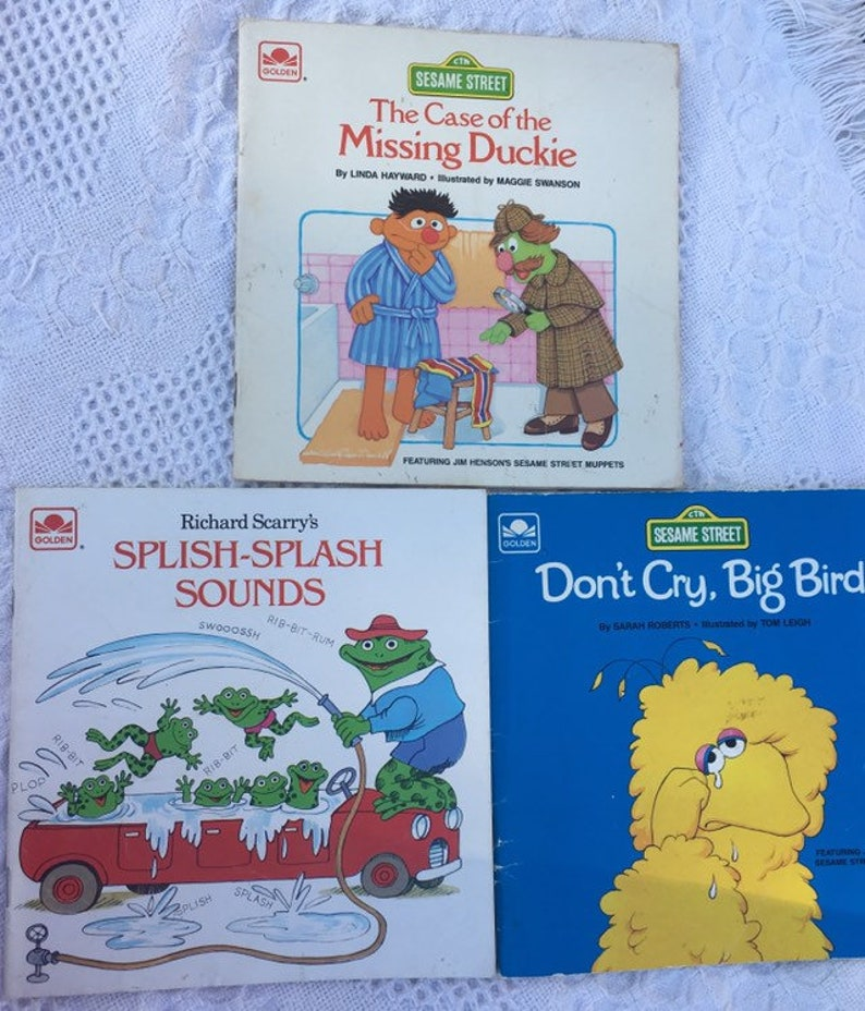 Sesame Street, Don't Cry, Big Bird and The Case of the Missing Duckie   Richard Scarry's Splish-Splash Sounds  Golden Books