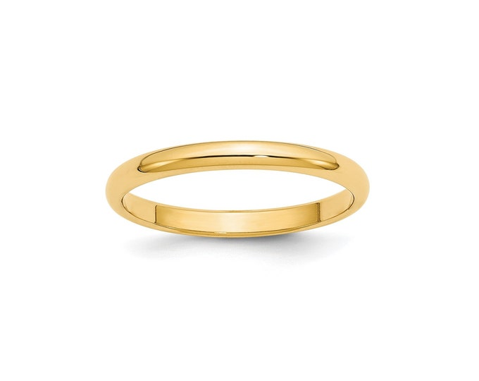14K Yellow Gold 2.5mm Half Round Men/'sLadies Wedding Band Ring