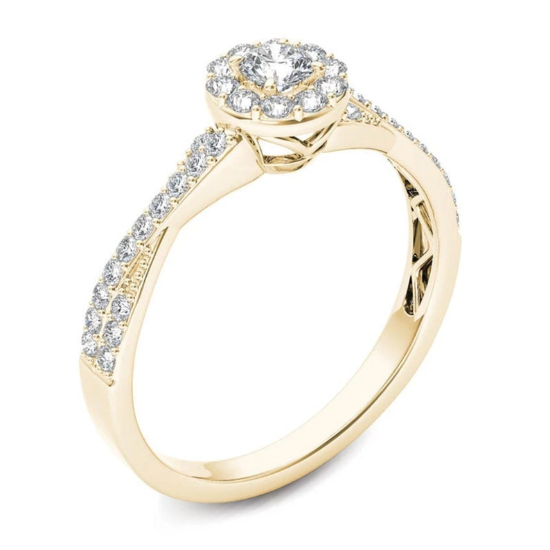 Diamond Frame Twist Shank Engagement Ring in 14K Gold Hand Made 12 CT T.W