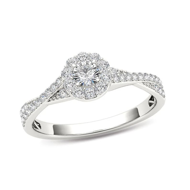 T.W Diamond Frame Twist Shank Engagement Ring in 14K White Gold Hand Made 12 CT
