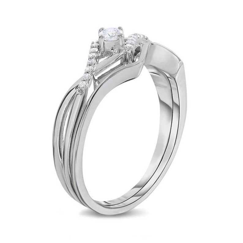 T.W Hand Made 16 CT Diamond Twist Bridal Engagement Ring Set in 14K White Gold