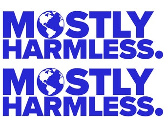 Mostly Harmless - The Hitchhikers Guide To The Galaxy - Two Decals (1 pair) - Vinyl Decal Car Truck Laptop PC Sticker