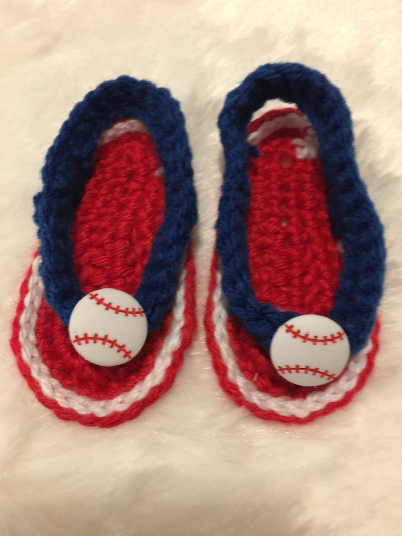 d3e8ecf3bee93 Baby Sandals Flip Flops Slip On Shoes Crochet Red White and Blue with  Baseballs Sz 0-3 Months
