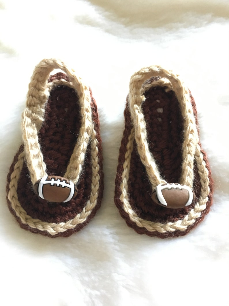 3ae44c1aa7441 Baby Sandals Flip Flops Slip On Shoes Crochet Brown and Tan with Footballs  Sz 0-3 Months