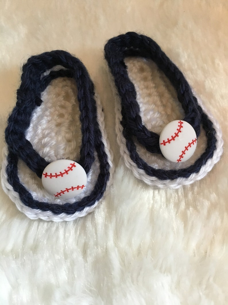 0d87c5b663e07 Baby Sandals Flip Flops Slip On Shoes Crochet Navy Blue and White with  Baseballs Sz 0-3 Months