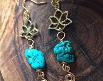 Lotus Flower Charm Turquoise Dyed Howlite Boho Style Earrings with Brass Wrapping