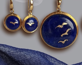 Stunning blue Birds In Flight lapis lazuli and 24K gold and vermeil drop earrings and pendant set or separates