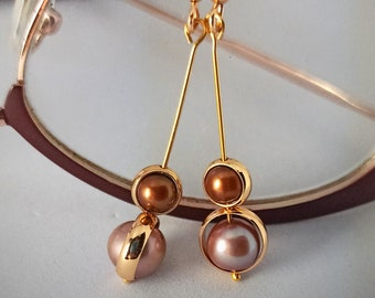"""Lustrous copper and lavender/gold pearl gold filled spinner drop earrings in minimalist style, 1.5"""" drop - Orbits series"""