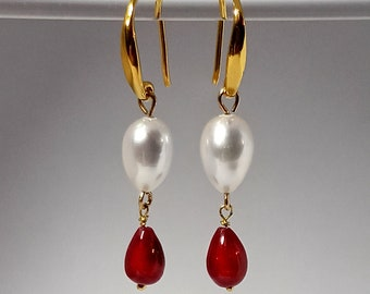 Ivory pearls and natural red ruby gold/vermeil teardrop earrings in minimalist style, June and July birthstones