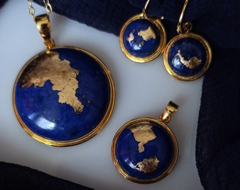 Stunning Blue Planet lapis lazuli and 24K gold and vermeil drop earrings and pendant set or separates