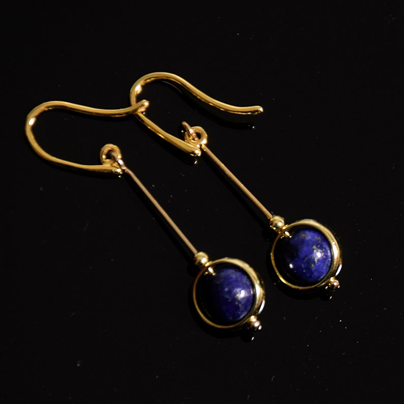 Lapis lazuli and gold/vermeil drop earrings in minimalist image 1