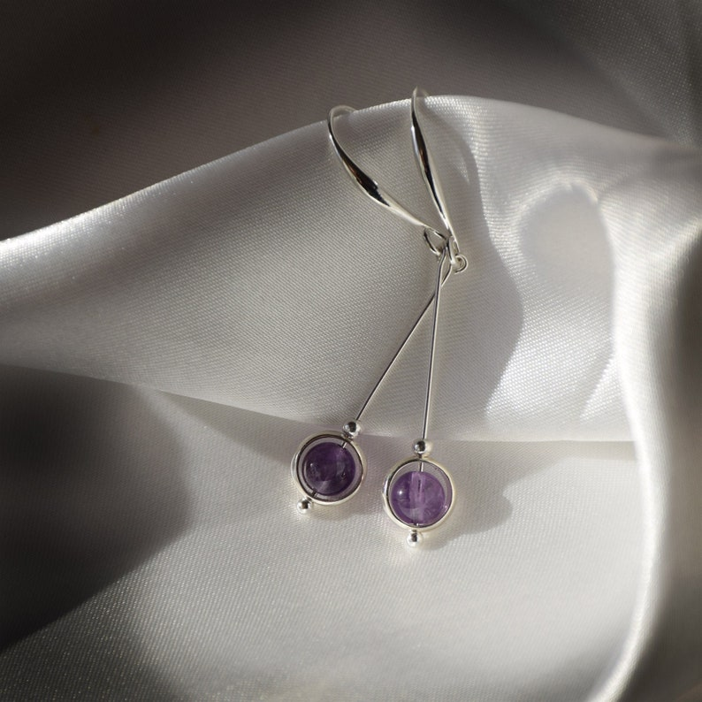 Elegant minimalist amethyst and sterling silver earrings   image 1