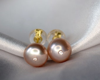 April & June birthstones! Pink pearls and certified diamond vermeil post earrings  -pink peach button pearls with 1mm brilliant cut diamonds