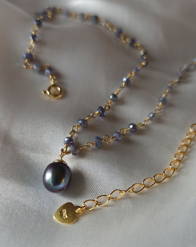 Natural sapphire and lustrous blue peacock pearl vermeil fairy image 0