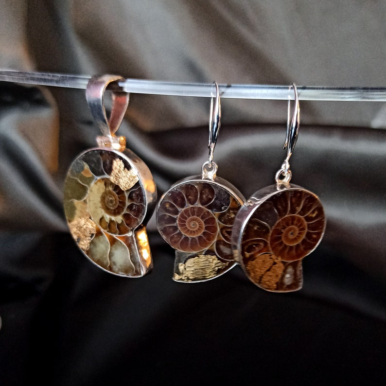 BoHo ammonite fossil pendant and earrings set  with gold leaf image 0