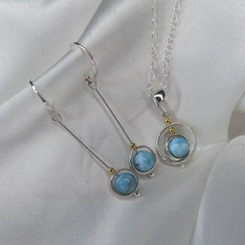 Blue Larimar sterling and gold/vermeil drop earrings and image 0