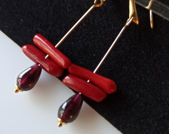"""Unique natural garnet and coral gold filled drop earrings in minimalist style, 1.25"""" drop"""