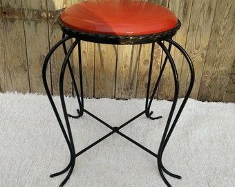 Antiques Antique Cast Iron Piano Stool Ice Cream Twist Legs Velvet Seat In Short Supply