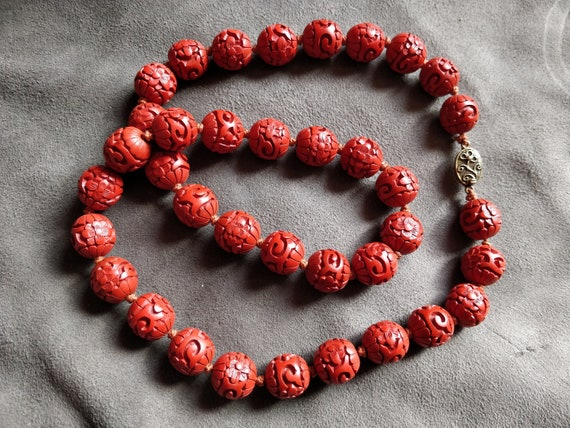 Vintage Chinese cinnabar  bead necklace, old Chine