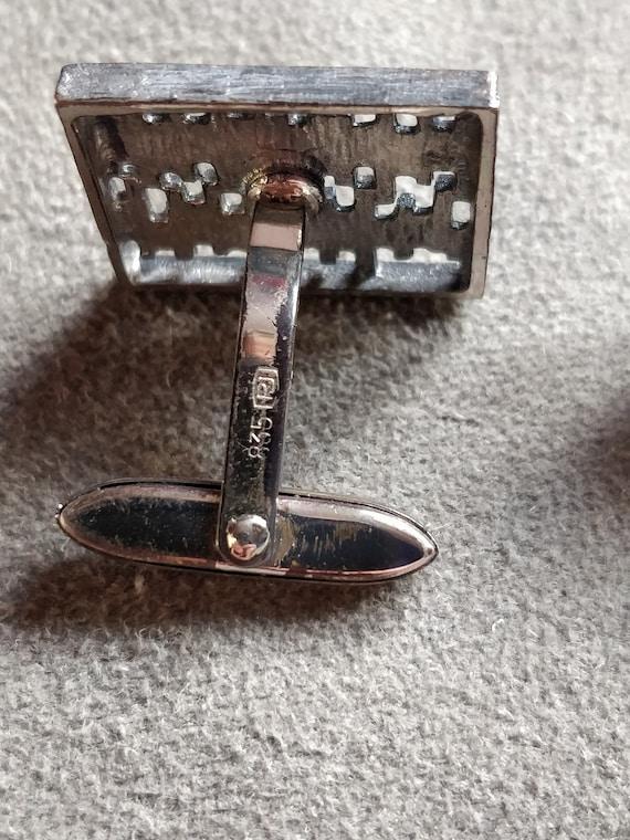 mans cufflinks Modernist 835 silver cuff links vintage cufflinks ca 1970 gift for a groom,