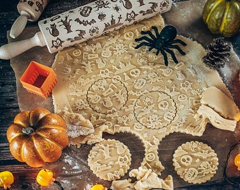 Halloween rolling pin, embossing rolling pin, engraved rolling pin by laser