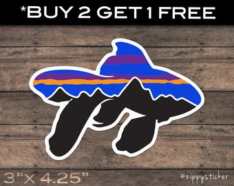 Patagonia Fitz Roy Logo Trout Vinyl Sticker Car Truck Window Decal Laptop Bumper