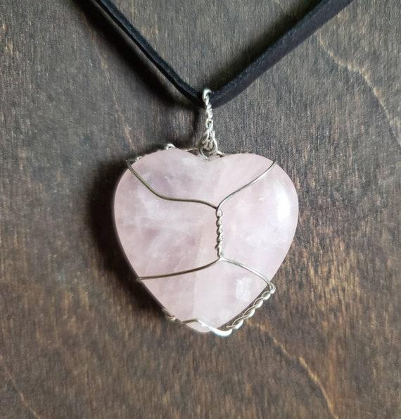 Rose Quartz Wrapped Crystal Necklace