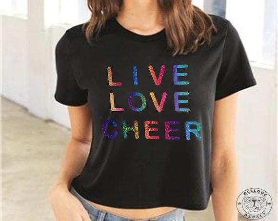 Live Love Cheer Holographic Rainbow Crop