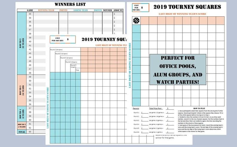 Printable Bracket Alternative 2019 Tourney Squares 8 5x11 Etsy