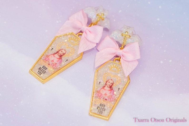 White Glitter Jesus and Mary UV resin bracelet and earring jewelry set
