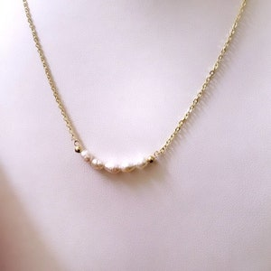 White Pearl Smile Pearl Bar Necklace Pearl Necklace14K Gold Filled 925 Sterling Silver Gemstone Bar Necklace Gemstone Jewelry