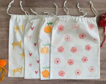 Fabric Gift Bags Draw String Anniversary Gift wrap Wedding floral