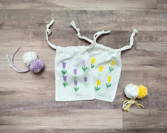 Mini Tulip Fabric Gift Bag / 5x7 Reusable Gift Bag / Floral / Sustainable / Jewelry Bag / Gift Card Box / Mother's Day / Eco-Friendly