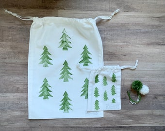 Mini Fabric Gift Bag Christmas / 5x7 Reusable Bag / Drawstring Bag / Jewelry Bag / Christmas Gift Bag / Gift Card Holder / Xmas Tree