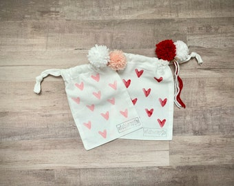Mini Heart Fabric Gift Bag / Reusable Gift Bag / Drawstring Bag / Valentines Day / Heart / Jewelry Bag / Gift Card Holder / Eco Friendly