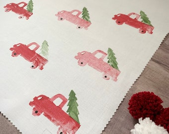 Fabric Gift Wrap - Vintage Truck / Christmas / Xmas / Holiday / Eco-Friendly / Gift Wrapping / Christmas Wrapping / Christmas Tree