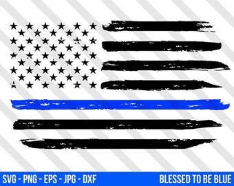 0a23e5f9403 Thin Blue Line American Flag SVG Vector - Png Eps Jpg Blue Lives Matter Law  Enforcement Silhouette Cricut USA Police Officer Distressed