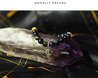 "Swarovski Moon Charm and A Grade Crystal Reiki Bracelet - ""Moonlit Dreams"""