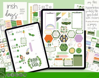 Cute St. Patricks Day Digital Planning Stickers | 500+ Digital Planner Stickers | Goodnotes 5 File Pre-Cropped | March Stickers