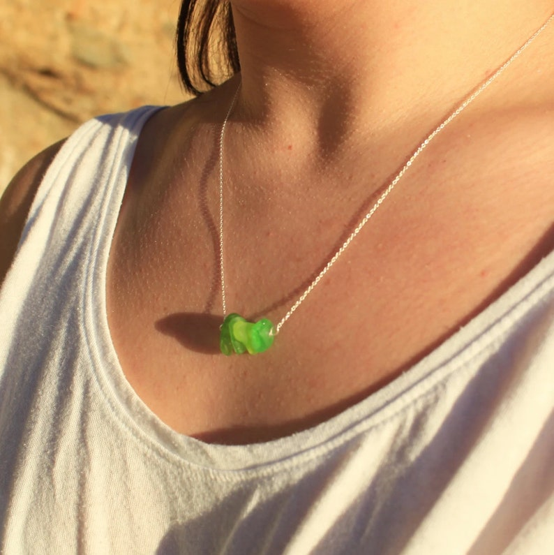 Simple Sea Glass Necklace Authentic Laguna Beach Sea Glass Necklace Sea Glass Necklace: Green Bar Sterling Silver Beach Glass Necklace