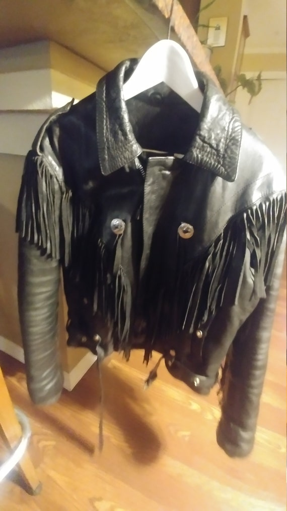 Women's Vintage Fringed Leather Motorcycle Jacket