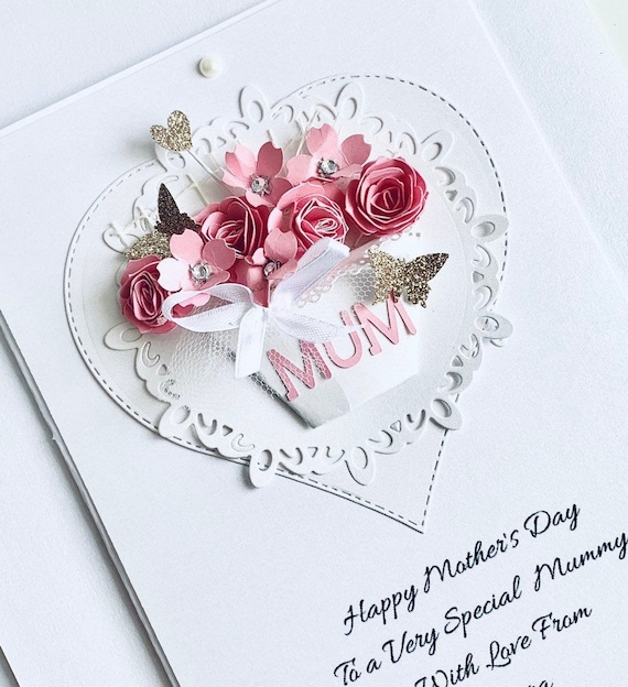 3D Personalised Papercut Mum Nan Birthday Mothers Day Card Unique Design Floral
